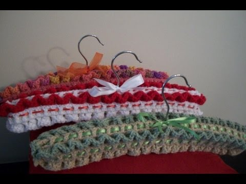 Crocheting On A Hanger : Crochet Coat Hanger - Part 4 of 5 - YouTube
