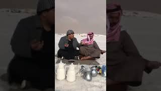 ثلج في منطقة الجوف وادي الشرارات طبرجل