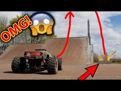 Does it live? $1000 Worlds Best RC Car VS 50ft Skatepark Jump - EPiC Bash Day with Traxxas X-Maxx