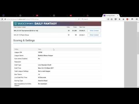 How to Win Your Yahoo! Fantasy Hockey Pool Part 1 - Settings