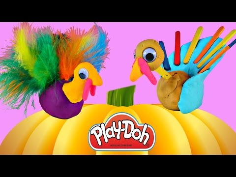 Making PLAY DOH Thanksgiving Turkeys – Playdough Holiday Crafts Do It Yourself Plastilina DCTC