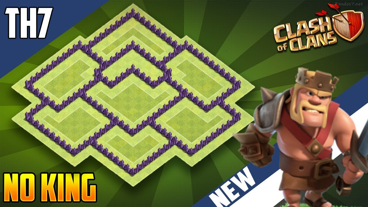 New Town Hall 7 Th7 Hybrid Base Without Barb King 2018 Coc