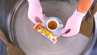 Ice Cream Rolls | how to make rolled Ice Cream with Coffee Latte and white Chocolate Lion Bar | ASMR