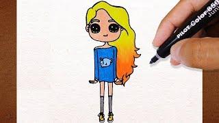 COMO DESENHAR BONEQUINHA Tumblr Cabelo Loiro, How to Draw