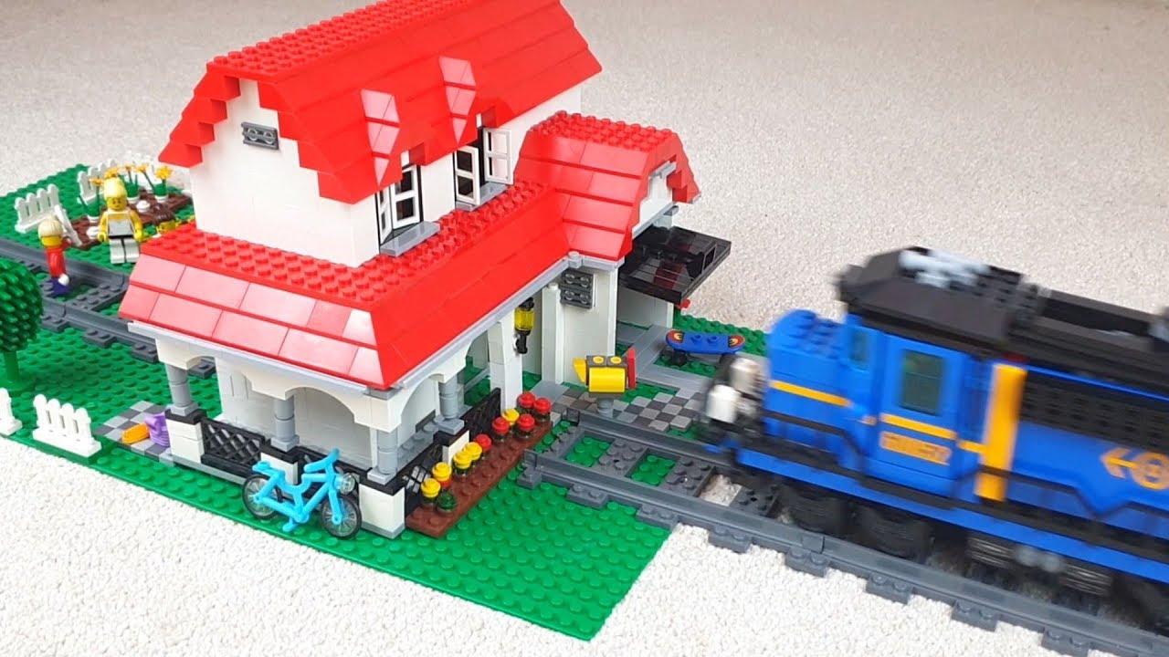 Lego train crash into family house #1