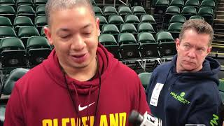 LeBron James, Cavs coach Ty Lue prior to Game 4 in Indy