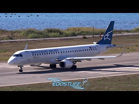 Tivat Airport LYTV/TIV Tower View - Montenegro Airlines Embraer 195LR Takeoff