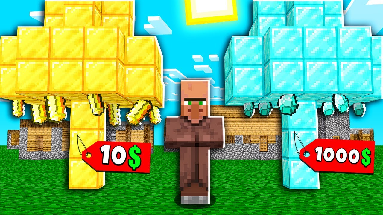 Minecraft NOOB vs PRO: VILLAGER SELL GOLD TREE FOR 10$ VS DIAMOND FOR 1000 DOLLARS! 100% TROLLING