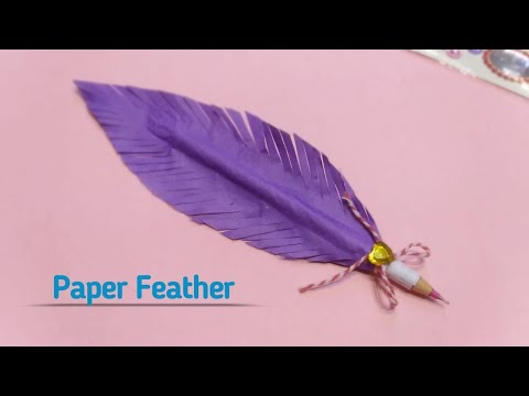 How to make paper feather pen| paper feather| diy crafts|