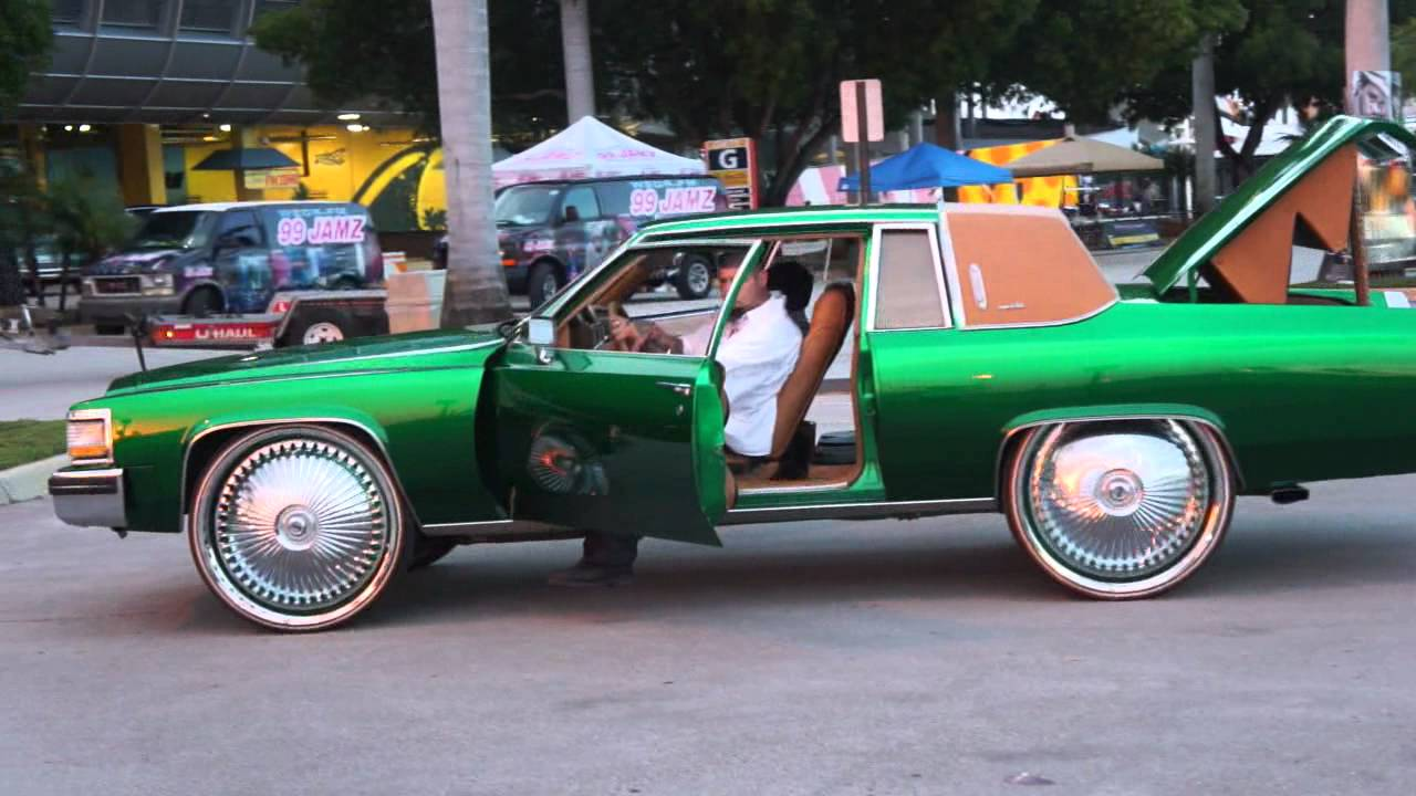 candy green cadillac coupe on 28quot dub rims sliding thru