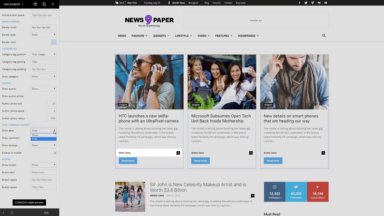 Newspaper 9 WordPress Theme - How to use the Flex Block element