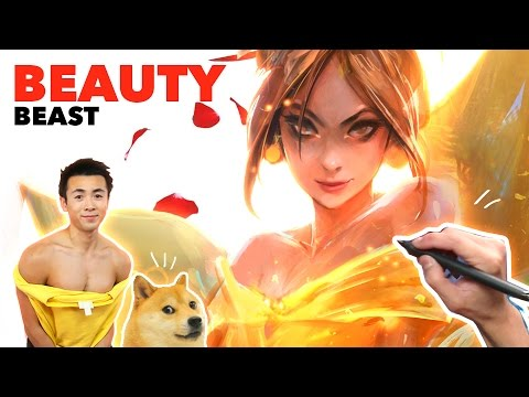 Ross Draws BEAUTY AND THE BEAST (Disney) feat. Shiba