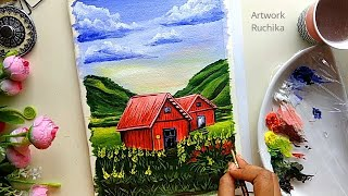Red House 🏡 Scenery Landscape Painting | House in a beautiful landscape painting 🎨|Beginner Painting