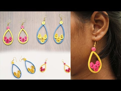 How To Make Earrings With Quilling Paper At Home  | DIY | Refashion Clothes - DIY Crafts