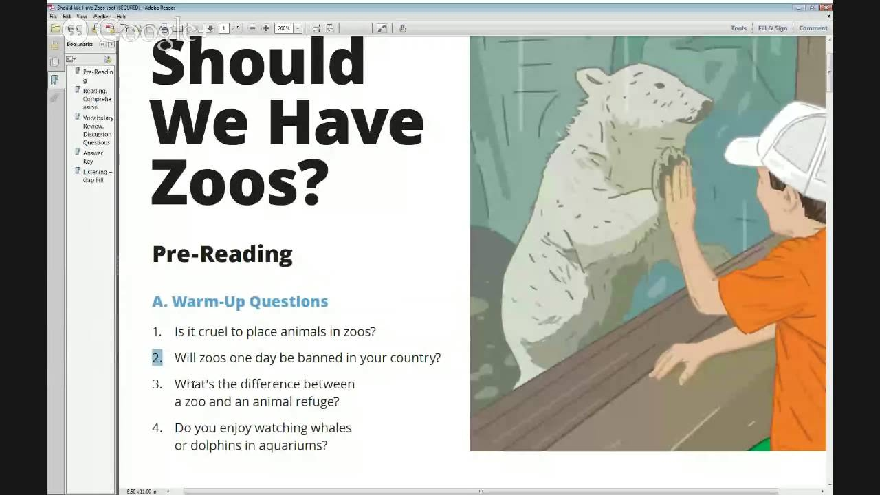 Discussion Starters – Should We Have Zoos? Level: Intermediate ...
