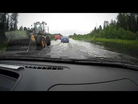 Трасса А119, город Вытегра, Вологодская область, потоп 27-е июля 2017