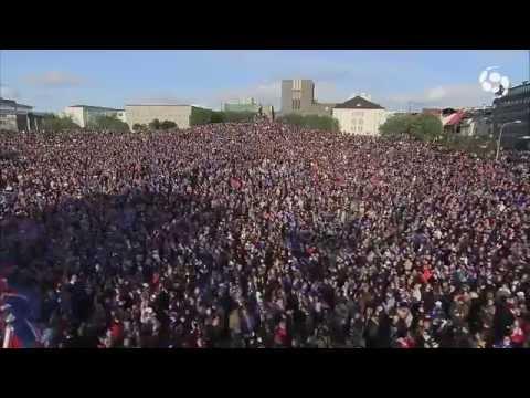 Half of Iceland's population chanting together!