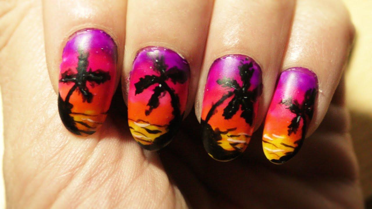 Sunset beach nail art design - YouTube