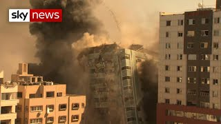 Media building in Gaza collapses after Israeli airstrike