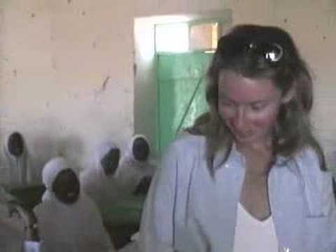 An American visiting a school in Northern Sudan