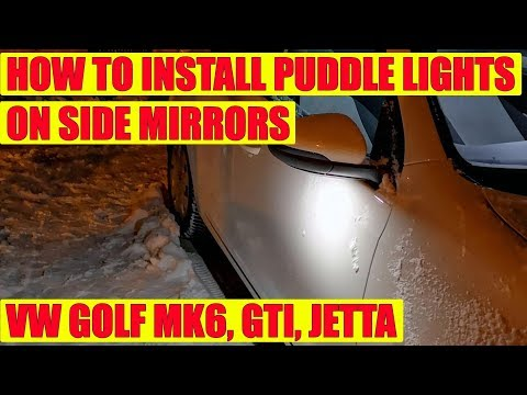 How to install white LED under side mirror puddle lights on VW Golf 6 Mk6, Jetta