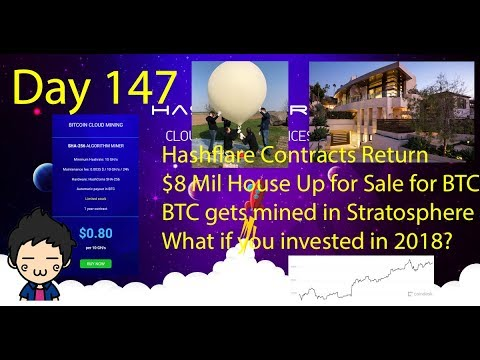Cloud Mining - Day 147 - HF Contracts Back, 8$ Mil BTC House For sale, Company mines in Stratosphere