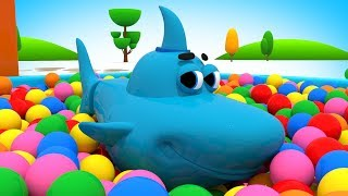Мультик Робот Акула Плавает в Бассейне из Шариков | Мультфильм про Машинки