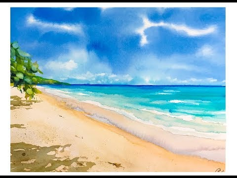 Beach In Watercolors Painting Process