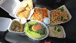 Eating a Lebanese Buffet (In the car)