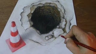 3D Art, Drawing a Hole and Traffic-cone, Pencils