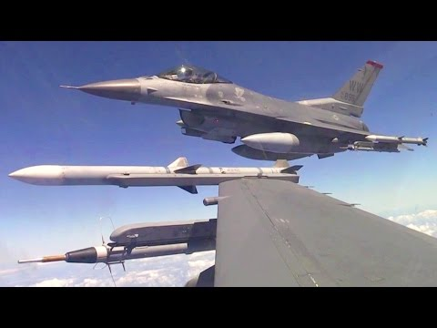 F-16 Weapons Training – Inflight, Aerial Refuel, Landing