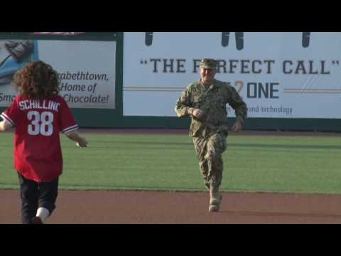 Welcome Home Surprise from U.S. Coast Guard Guardian at Clipper Magazine Stadium