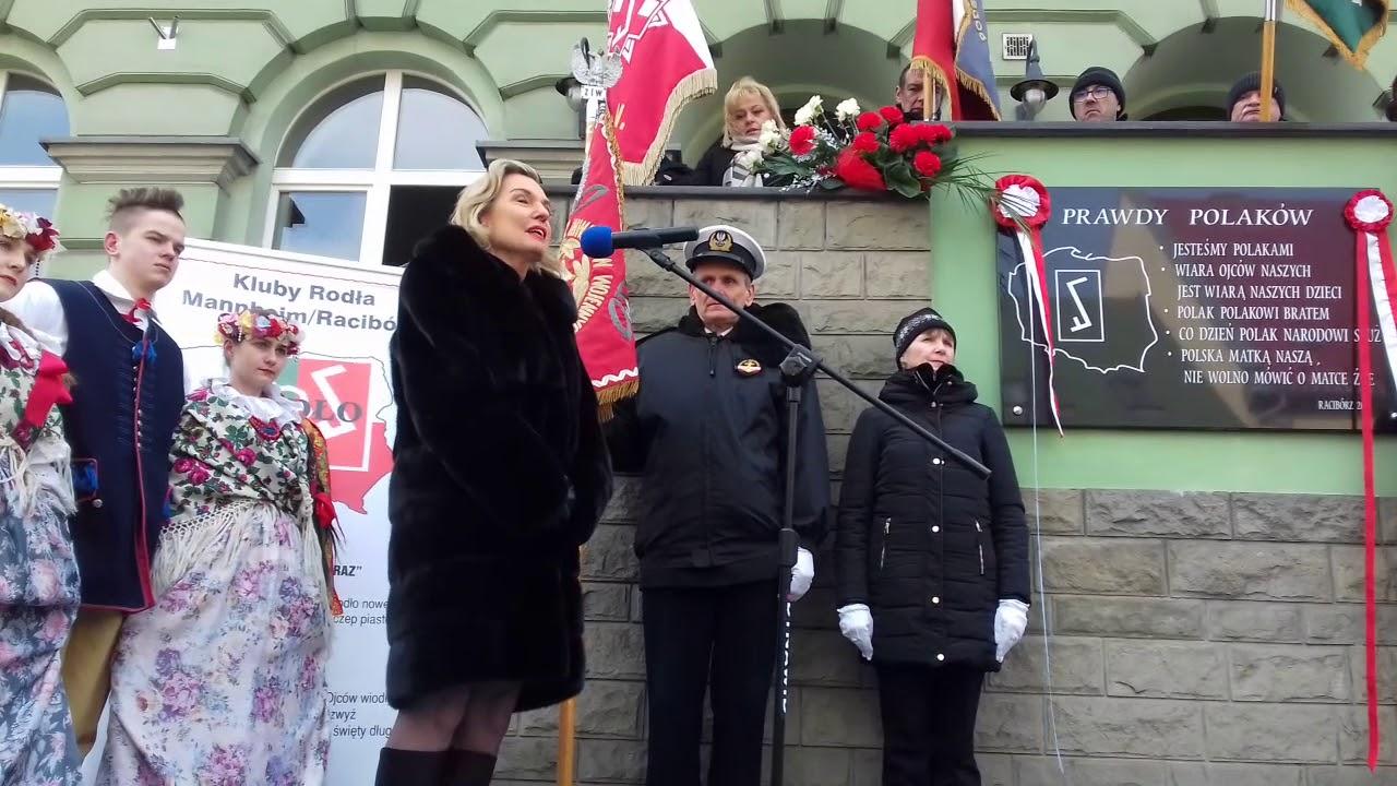 Odsłonięcie tablicy o 5 Prawdach Polaków w Raciborzu