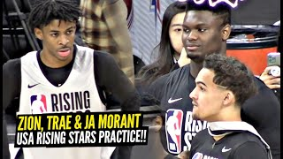 Zion Williamson, Trae Young & Ja Morant Having FUN During USA NBA All Star Rising Star Practice!