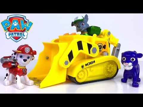 STORY WITH PAW PATROL RESCUES LEOPARD IN A ROCKSLIDE WITH MARSHALL CHASE TRACKER RUBBLE AND ROCKY
