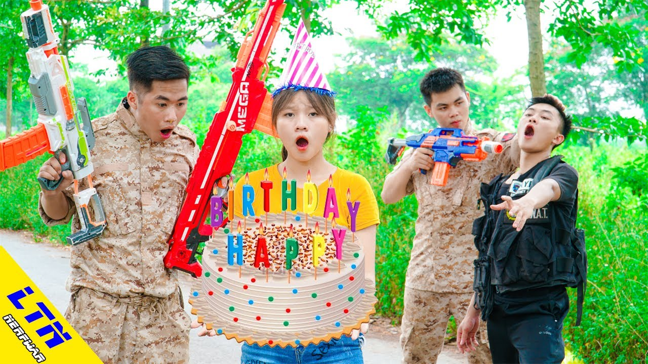 LTN Nerf War : Couple Seal WANTING BIRTHDAY CAKE & Delta Force T Nerf Guns Fight Baker Group