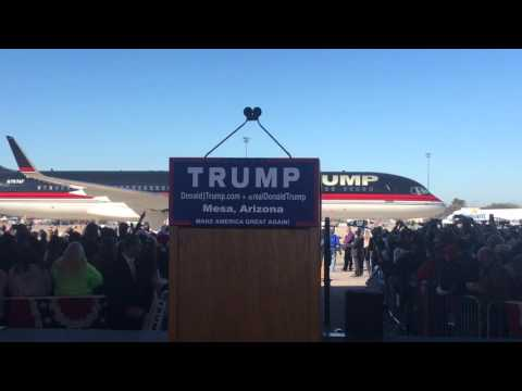 Donald Trump's plane entrance at Mesa,Arizona rally!