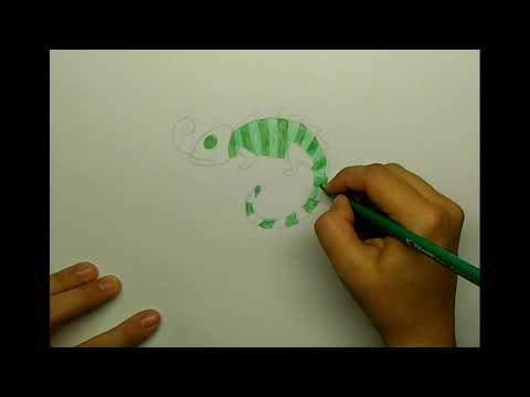 Как просто нарисовать хамелеона