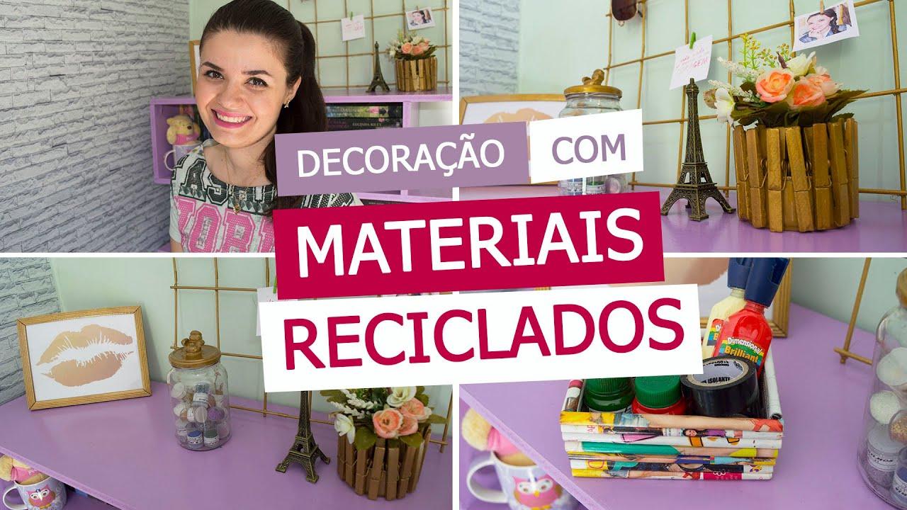 DECORA u00c7ÃO COM MATERIAIS RECICLADOS DIY 4 IDEIAS YouTube -> Decoração De Halloween Com Materiais Reciclados