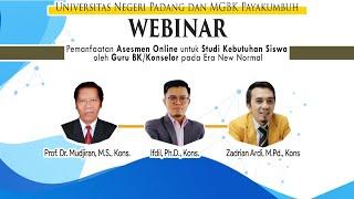 """Webinar Nasional : """"Pemanfaatan Asesmen Online untuk Studi Kebutuhan Guru BK/Konselor""""."""