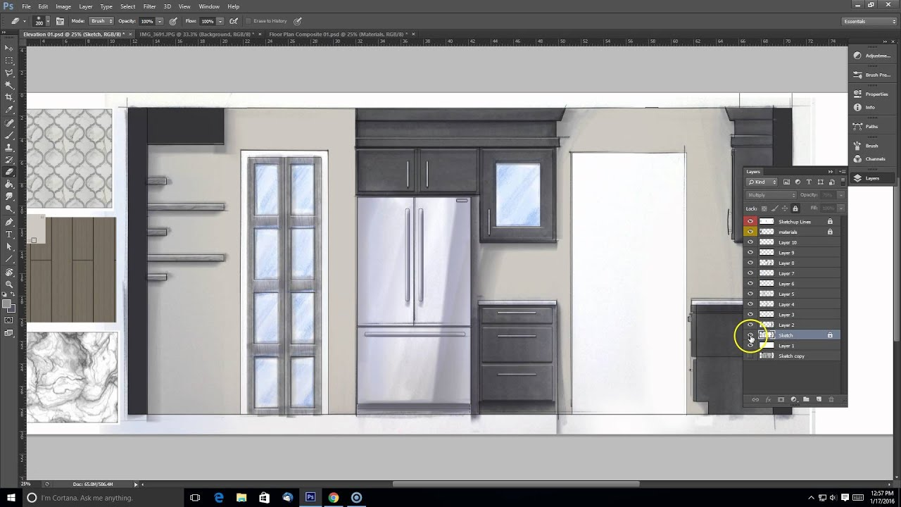Interior Design Elevation Sketch Render Composite In Photoshop Part