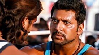 Cuando Jayam Ravi se entera de que su maestro organiza a los matones para matarlo en el ring.
