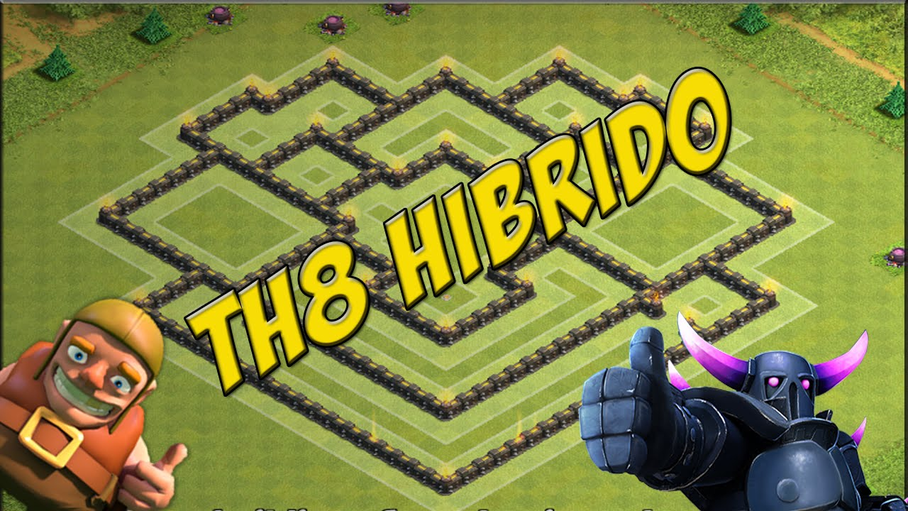 layout hÍbrido cv8 layout hybrid th8 clash of clans youtube