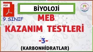 9. sınıf MEB Biyoloji kazanım kavrama testleri-3- (Karbonhidratlar)