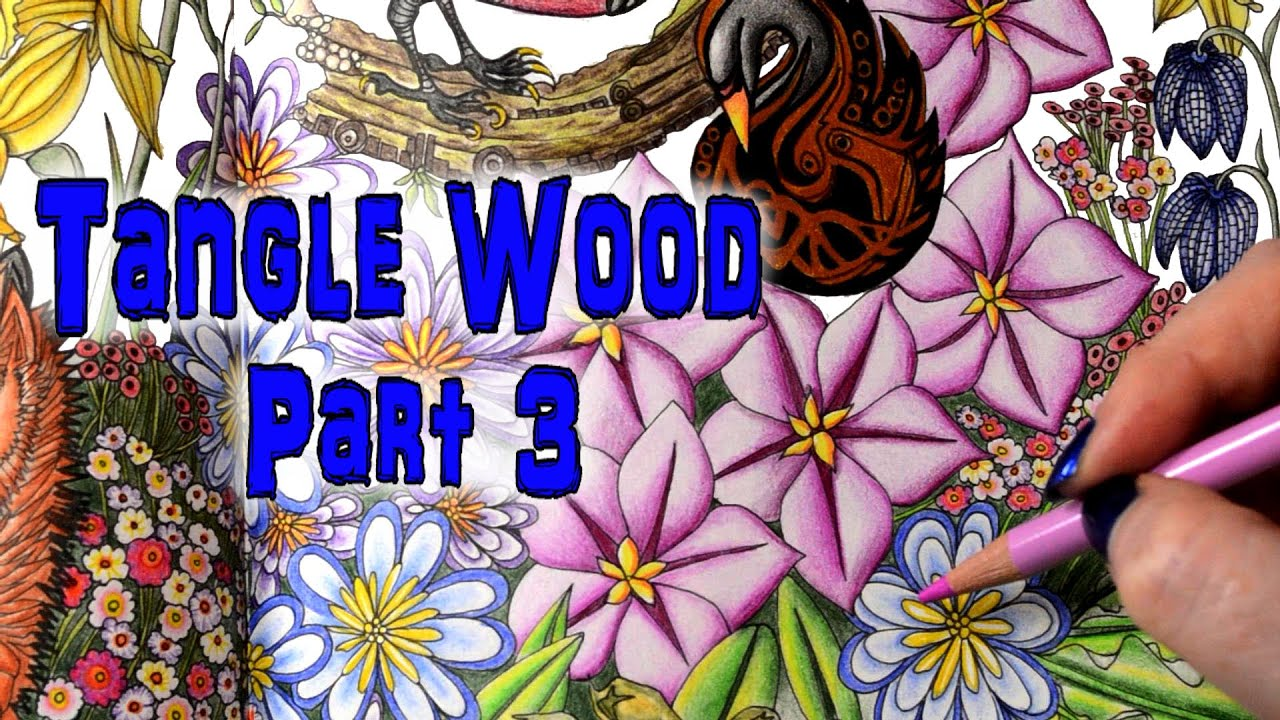 Coloring Book Tutorial Tangle Wood With Colored Pencils