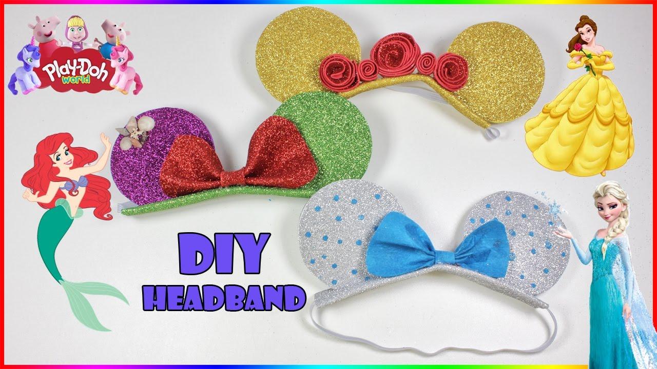 Disney Princess Headband Diy Minnie Mouse Ears Ariel Elsa Belle Hairstyle Headband