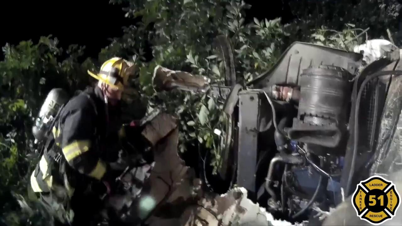 Rescue 51 | MVA Overturned | Rt  31 S | Hopewell Twp  | 01:50 | 08/30/2018  (w/ helmet cam footage)