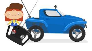 Uzaktan kumandalı araba. Dr McWheelie ile inşaat araçları. Aile bir karikatür.