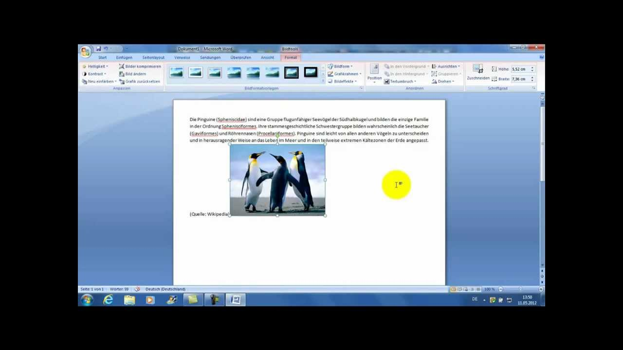Microsoft Word 2007 - Bild in Text einfügen - Tutorial HD by ...