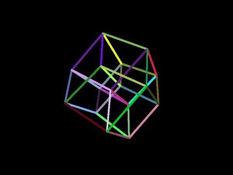 Tesseract-multicolor  Rotation in four-dimensional space  4D  Fourth  dimension  Hyperspace